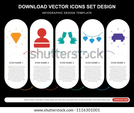 5 vector icons such as diamond