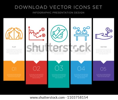 5 vector icons such as gears mesh, volatility, okey, panel discussion, cost effective for infographic, layout, annual report, pixel perfect icon set