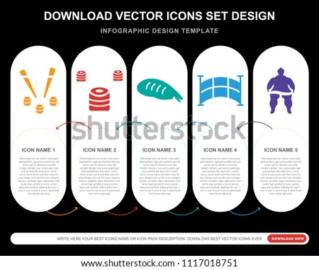 5 vector icons such as Japan sushi and chopsticks, Japanese Sushi, Sushi Prawn, Japanese bridge, Sumo fighter for infographic, layout, annual report, pixel perfect icon