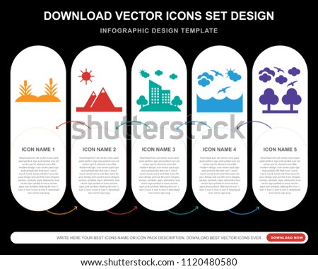 5 vector icons such as lake