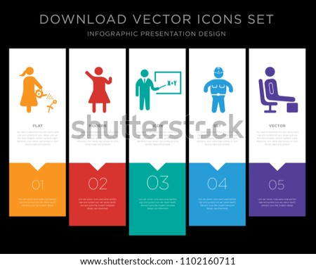 5 vector icons such as man