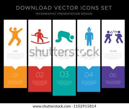 5 vector icons such as martial