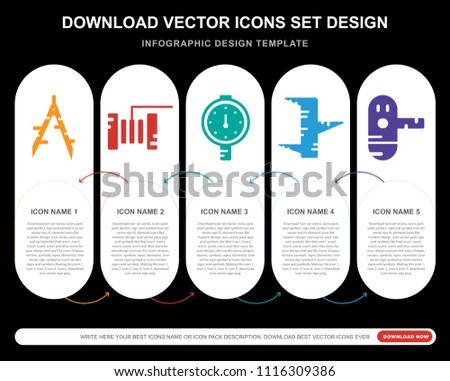 5 vector icons such as Plier, Plier, Barrier, Clamp, print for infographic, layout, annual report, pixel perfect icon