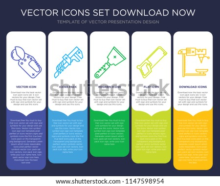 5 vector icons such as Power saw, Pipe wrench, Scraper, Hacksaw, Drill for infographic, layout, annual report, pixel perfect icon