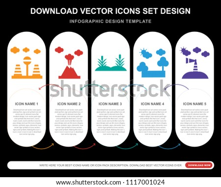 5 vector icons such as road