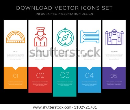5 vector icons such as Set square, Graduate, Orientation, Sharpener, High school for infographic, layout, annual report, pixel perfect icon set