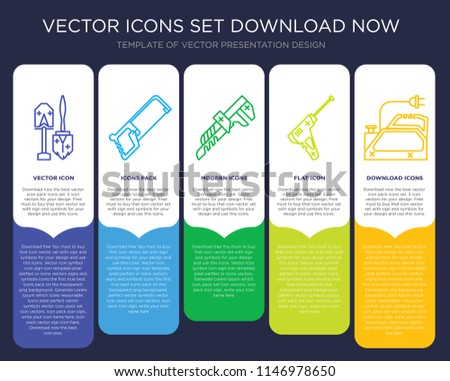 5 vector icons such as Shovel, Hacksaw, Pipe wrench, Hammer drill, Planer for infographic, layout, annual report, pixel perfect icon
