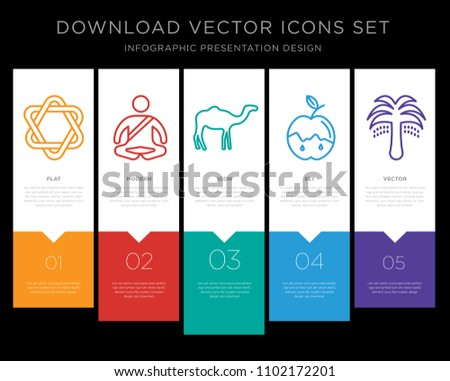 5 vector icons such as star of