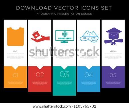 5 vector icons such as straight