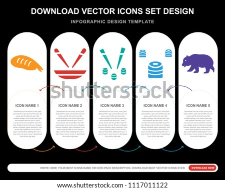5 vector icons such as Sushi Prawn  bowls and chopsticks, Japan sushi and chopsticks, Japanese Sushi, Chinese Panda bear for infographic, layout, annual report, pixel perfect icon