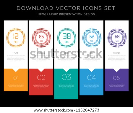 5 vector icons such as The 12 seconds, 65 38 62 68 seconds for infographic, layout, annual report, pixel perfect icon