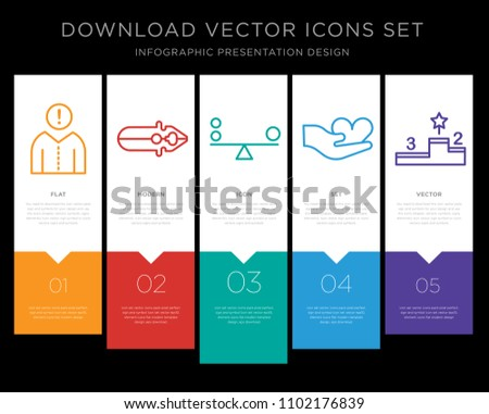5 vector icons such as Think, Pliers, Balance, Hand, Podium for infographic, layout, annual report, pixel perfect icon set