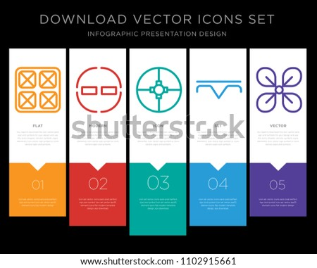 5 vector icons such as Year, Encouragement, Ingenuity, Precipitation, Affluence for infographic, layout, annual report, pixel perfect icon set