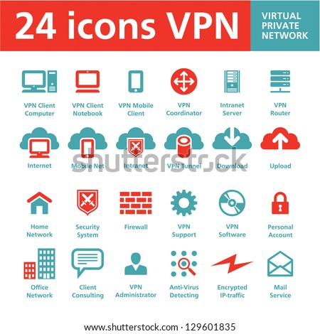 24 vector icons vpn  virtual