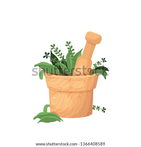 vector illustration about herbal treatment with a mortar with herbs