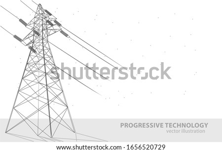 Vector illustration concept of a high voltage tower, on a white background, a symbol of electricity, progress, and technology. Photo stock ©