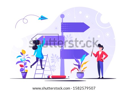 Vector illustration, direction sign in different, destination, choice of directions, travel to different places