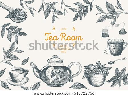 Vector illustration frame for Tea Shop. Vector card design with tea. Poster for tea house. Vector hand drawn set. Linear graphic banner.