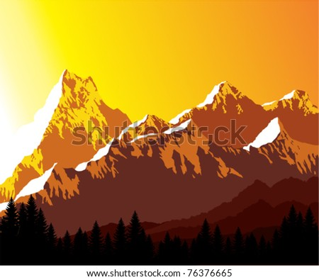 Vector Illustration Morning in Mountains - stock vector
