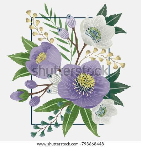 Vector illustration of a beautiful floral bouquet with a frame in spring for Wedding, anniversary, birthday and party. Design for banner, poster, card, invitation and scrapbook