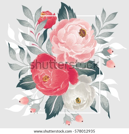 Vector illustration of a beautiful floral bouquet with frame in spring for Wedding, anniversary, birthday and party. Design for banner, poster, card, invitation and scrapbook