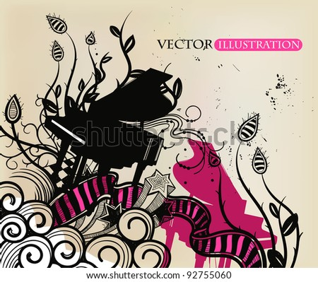 vector illustration of a black piano and abstract plants, waves and stars