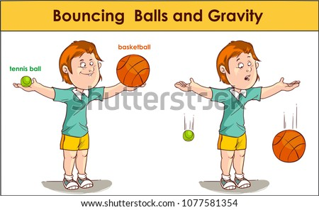 Vector illustration of a Bouncing  Balls and Gravity