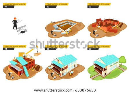 Vector illustration of a phased construction of a house