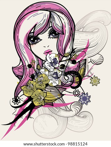 vector illustration of a pretty girl with blooming flowers