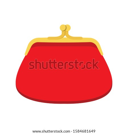 Vector illustration of a red retro purse for coins. Wallet Flat Icon Сток-фото ©
