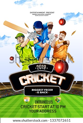 vector Illustration of cricket player ,Creative poster or banner design with background for Cricket Championship poster