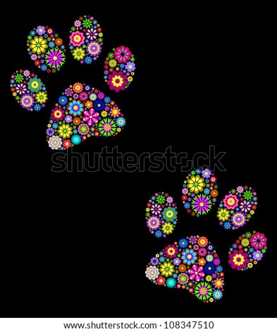 vector illustration of  floral  animal paw print on black background