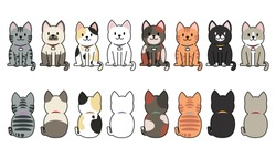 Vector illustration of funny cartoon cats breeds set. Cats collection, Vector silhouette of cats on white background, Cats .eps 10 vector.