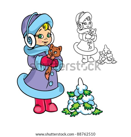 Vector Illustration of girl with a small kitten in color and outline; isolated on background.