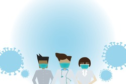 Vector illustration of medical staff are wearing facemask for prevention form covid19. Medical staff are wearing facemask for prevention coronavirus.coronavirus pandemic. doctor character flat design