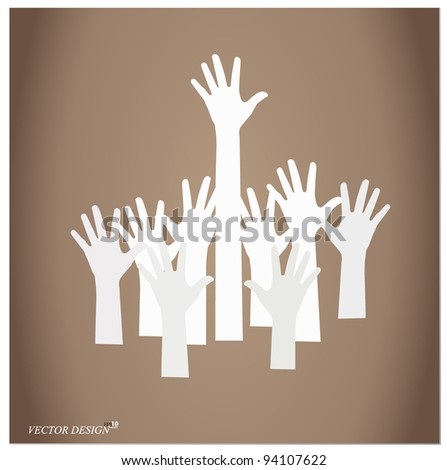 Vector Illustration of raised hands.