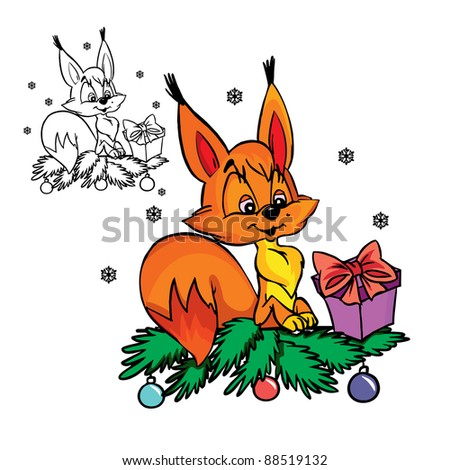 Vector Illustration of Squirrel withChristmas present  in color and outline;isolated on background.