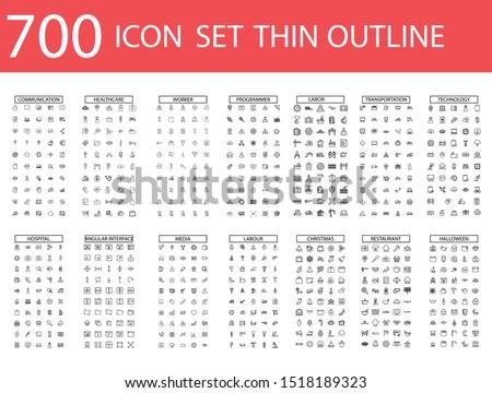 700 Vector illustration of thin line icons for business, social media, technology,Christmas,Halloween , labor ,restaurant, medicine, travel, weather, construction, arrow. Linear symbols set