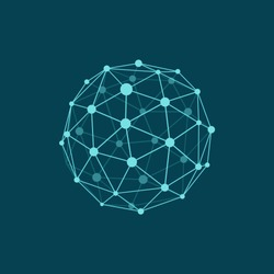 Vector illustration of wireframe sphere on dark blue background. Abstract geometric polygonal object with lines and dots connected. Plane colors