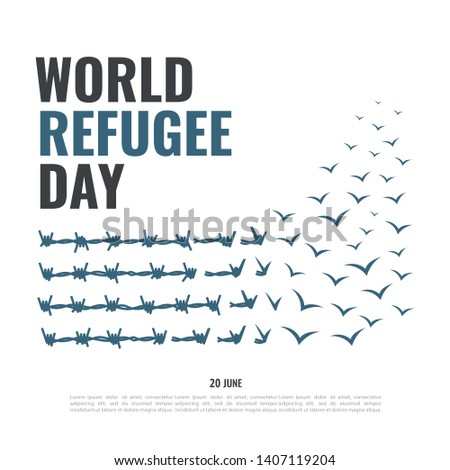 Vector Illustration on the theme World Refugee Day   Foto stock ©