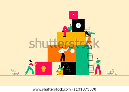 Vector illustration, online assistant at work. Searching for new ideas solutions, working together in the company, brainstorming.