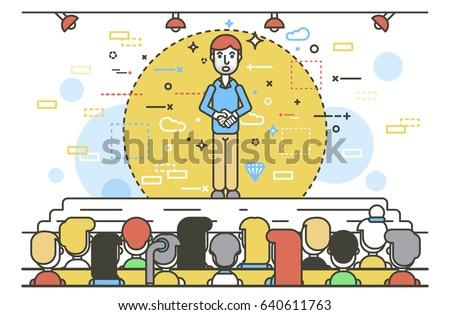 Vector illustration orator spokesman spokesperson speaker keep hands together businessman rhetor politician speech speaking stage audience business presentation spitch line art style white background