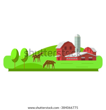 Vector illustration rural landscape. Rural landscape with hill, farm, animals. Rural life. Rural lifestyle. Rural landscape with rural buildings, farm, valley