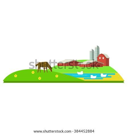 Vector illustration rural landscape. Rural landscape with hill, farm, animals. Rural life. Rural lifestyle. Rural landscape with rural buildings, farm, valley. Rural landscape with animal farm.