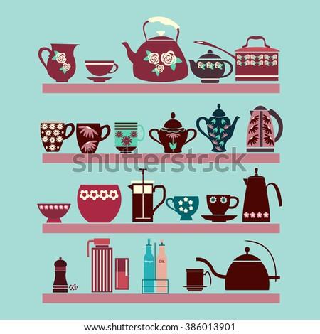 vector illustration set of tea ...