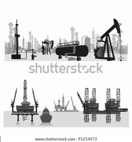 Vector illustration.Silhouettes of an oil refinery and oil wells.Oil platform