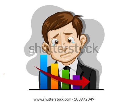 vector illustration unhappy business man drop chart with falling red arrow in cartoon