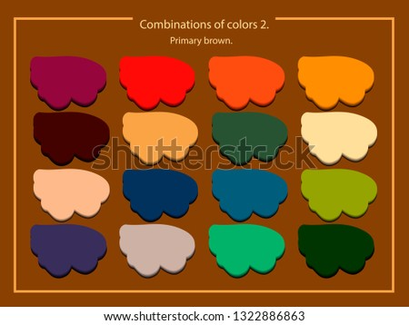 Vector image of a palette of compatible colors. All colors are compatible with brown-orange color.Fashion color trend. Vector image of a palette of compatible colors.