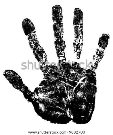 Vector image of hand print. - stock vector