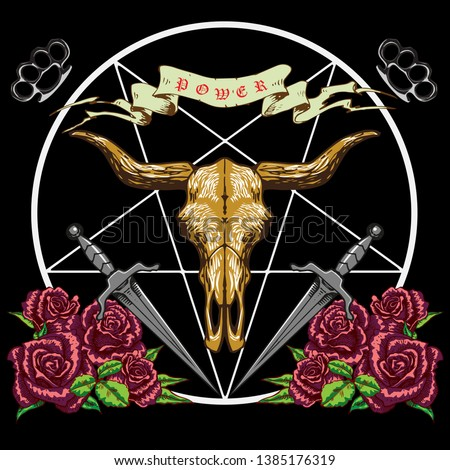 Vector image, pentagram with horned skull roses daggers in the style of biker stripes and tattoos